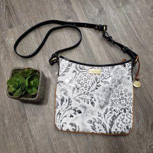 Brahmin Damask Leather Crossbody Bag White Black